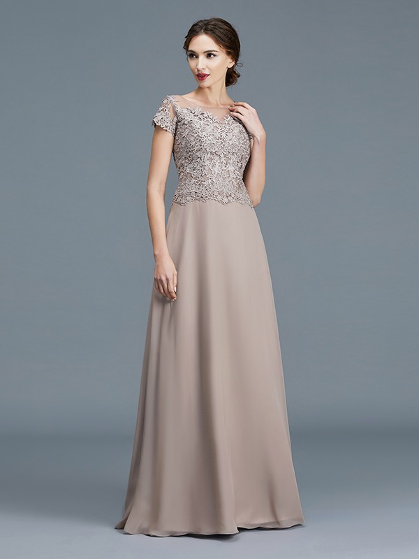 A-Line/Princess Scoop Short Sleeves Floor-Length Chiffon Applique Mother of the Bride Dresses
