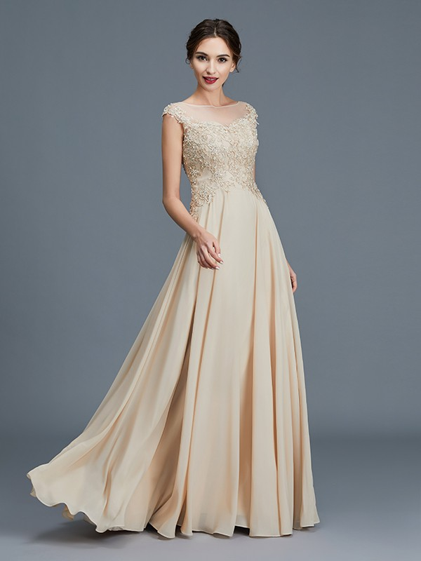 A-Line/Princess Scoop Sleeveless Chiffon Floor-Length Ruffles Mother of the Bride Dresses