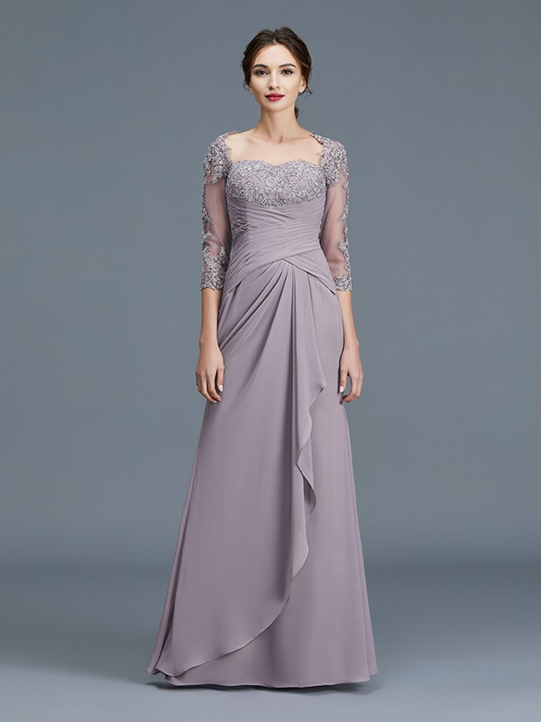 Sheath/Column Sweetheart 3/4 Sleeves Ruffles Chiffon Floor-Length Mother of the Bride Dresses
