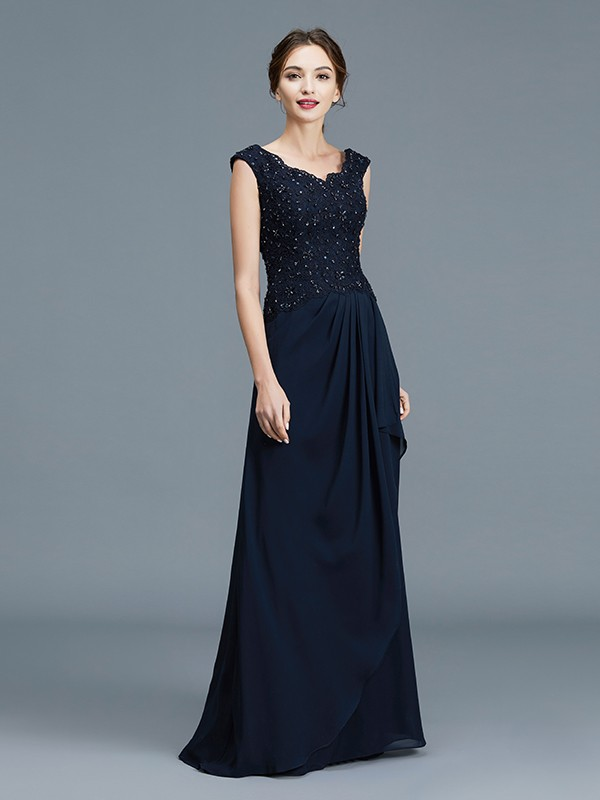 A-Line/Princess V-neck Ruffles Chiffon Sleeveless Floor-Length Mother of the Bride Dresses