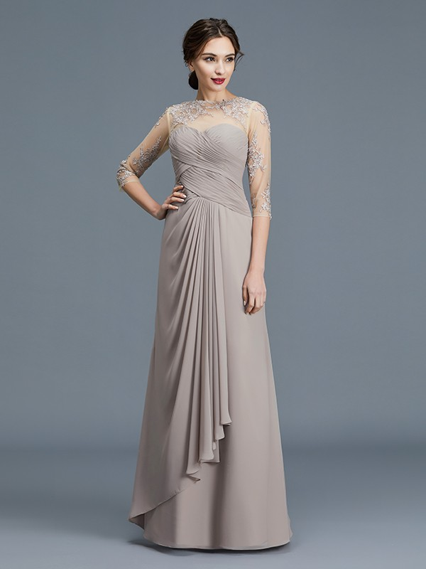 A-Line/Princess Sheer Neck 3/4 Sleeves Chiffon Ruffles Floor-Length Mother of the Bride Dresses