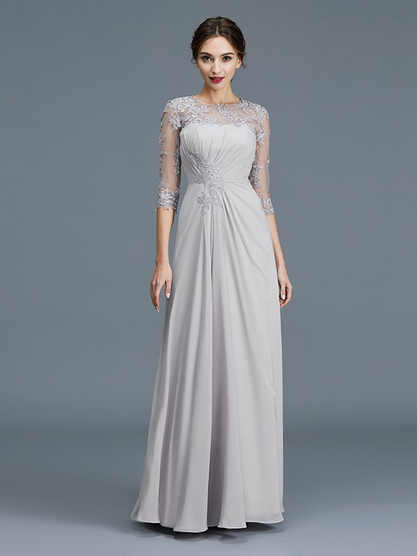 A-Line/Princess Scoop 3/4 Sleeves Chiffon Floor-Length Ruffles Mother of the Bride Dresses