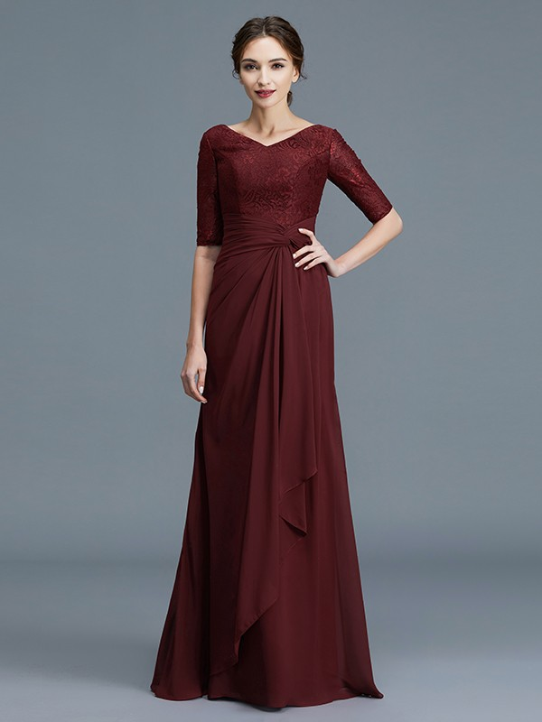 A-Line/Princess V-neck 1/2 Sleeves Chiffon Ruffles Floor-Length Mother of the Bride Dresses