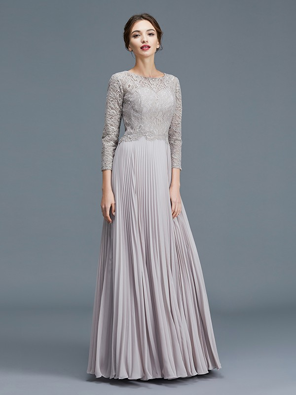 A-Line/Princess Scoop 3/4 Sleeves Chiffon Lace Floor-Length Mother of the Bride Dresses