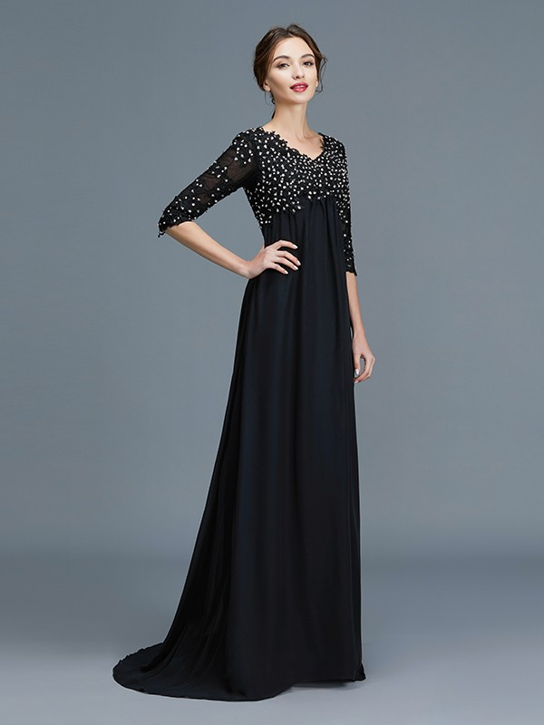 A-Line/Princess V-neck 1/2 Sleeves Chiffon Floor-Length Beading Mother of the Bride Dresses