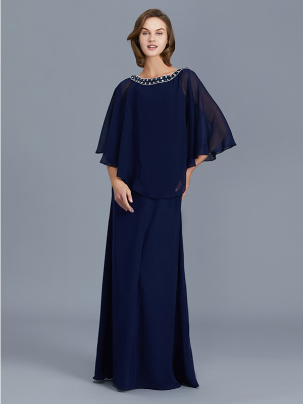 Sheath/Column Scoop Long Sleeves Chiffon Floor-Length Beading Mother of the Bride Dresses