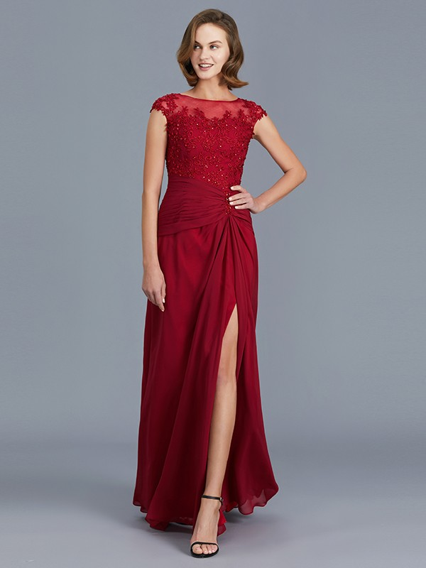 Sheath/Column Scoop Sleeveless Floor-Length Chiffon Ruffles Mother of the Bride Dresses