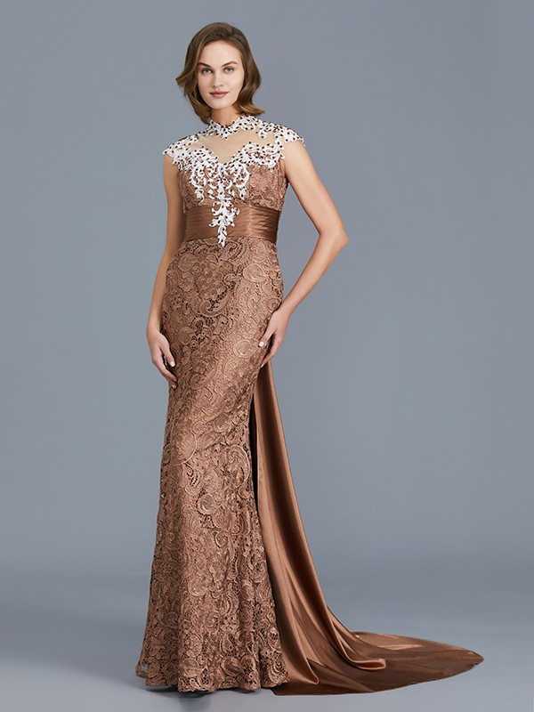 Trumpet/Mermaid Scoop Sleeveless Lace Beading Floor-Length Mother of the Bride Dresses