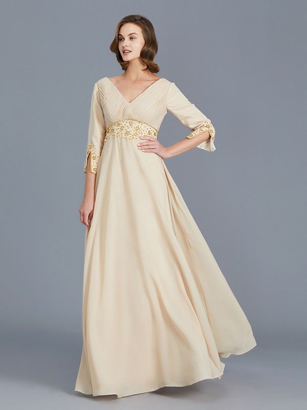 A-Line/Princess V-neck Sleeveless Chiffon Ruffles Floor-Length Mother of the Bride Dresses