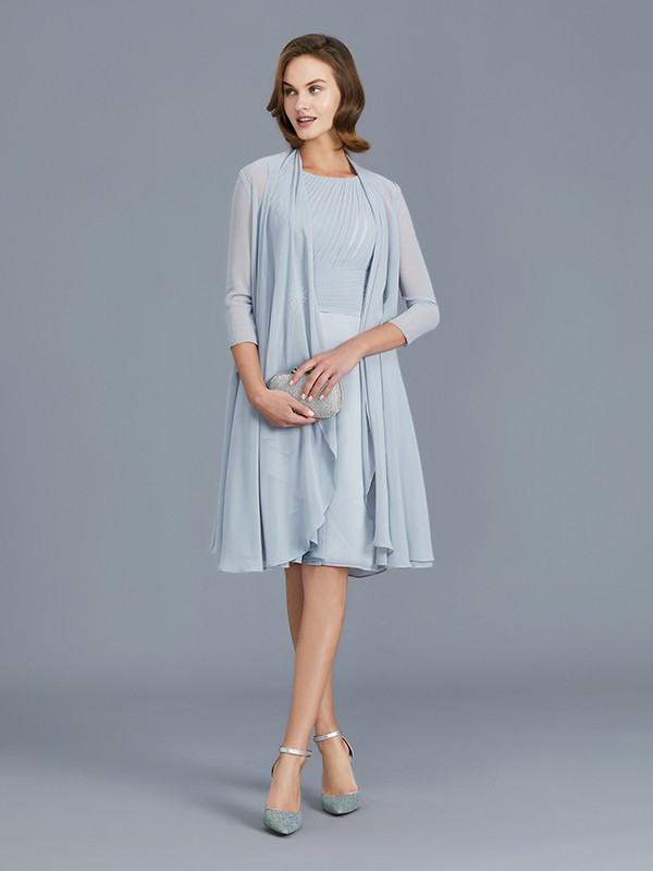 A-Line/Princess Scoop Knee-Length Sleeveless Ruffles Chiffon Mother of the Bride Dresses