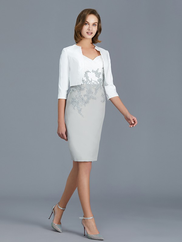 Sheath/Column V-neck 1/2 Sleeves Chiffon Knee-Length Ruffles Mother of the Bride Dresses