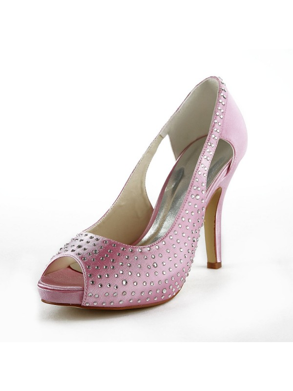 Women's Beautiful Satin Stiletto Heel Peep Toe With Rhinestone Wedding Shoes
