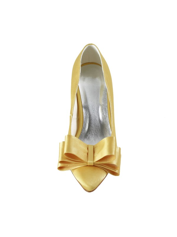 Women's Satin Spool Heel Closed Toe Bowknot Wedding Shoes