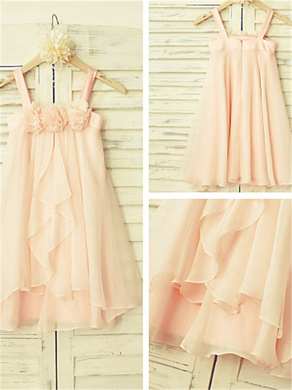 Princess Spaghetti Straps Sleeveless Ruffles Tea-Length Chiffon Flower Girl Dresses