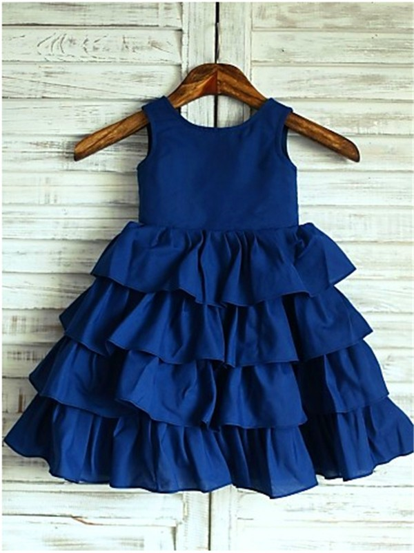 A-line/Princess Sleeveless Scoop Layers Tea-Length Chiffon Flower Girl Dress
