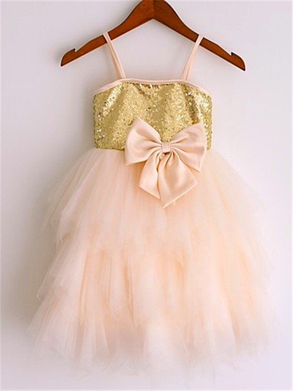 A-line/Princess Spaghetti Straps Sleeveless Sequin Tea-Length Net Flower Girl Dress