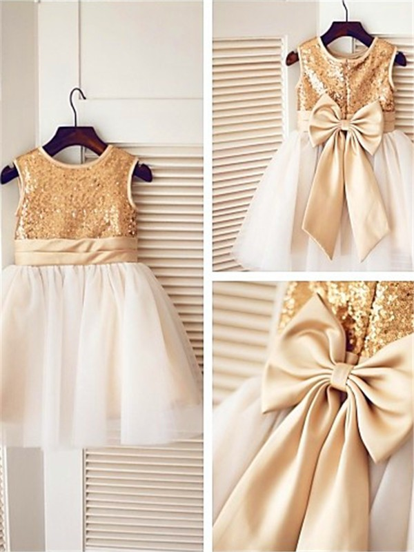 Princess Sleeveless Scoop Sequin Knee-Length Tulle Flower Girl Dresses