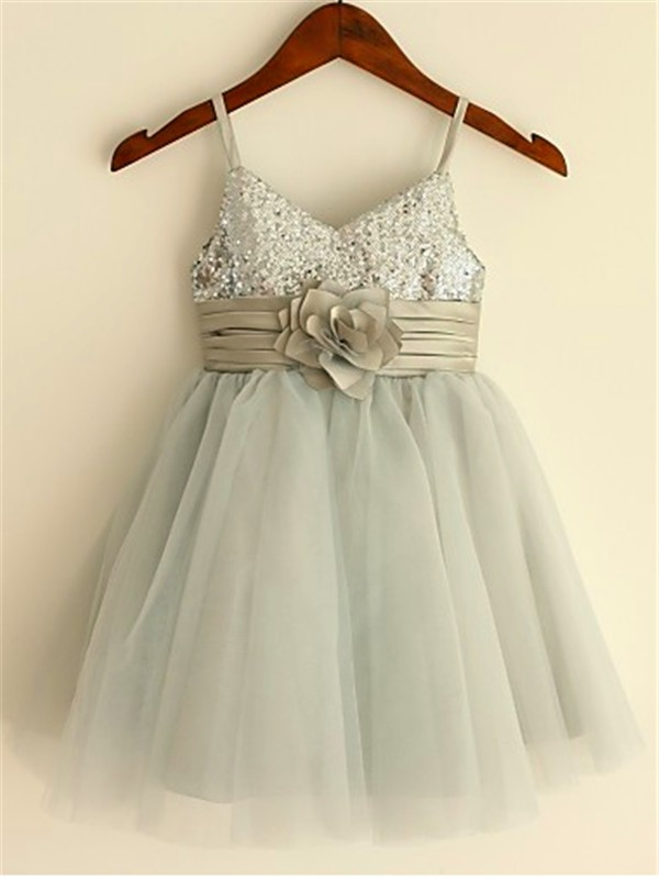 A-line Spaghetti Straps Sleeveless Sequin Tea-Length Tulle Little Girl Dresses