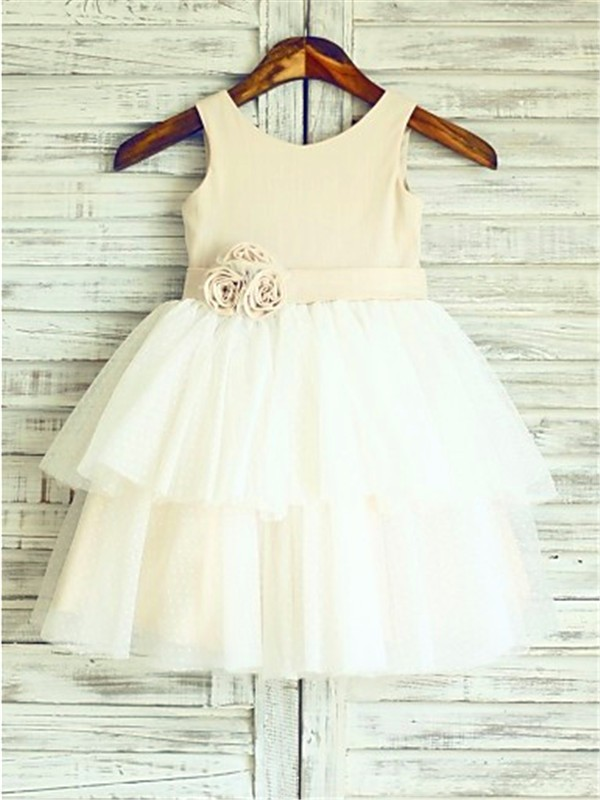 A-line/Princess Straps Sleeveless Hand-made Flower Tea-Length Tulle Little Girl Dresses