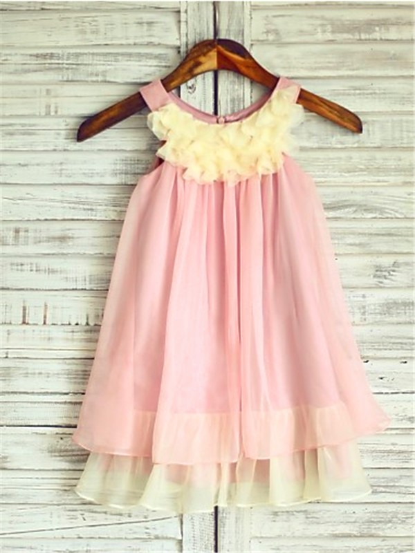 A-line/Princess Straps Sleeveless Ruched Tea-Length Chiffon Little Girl Dresses