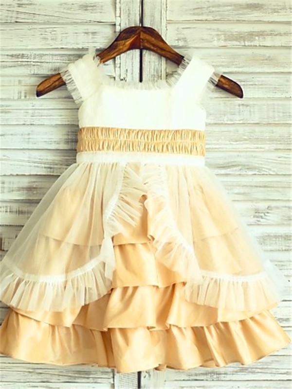 A-line/Princess Square Sleeveless Layers Tea-Length Satin Little Girl Dresses