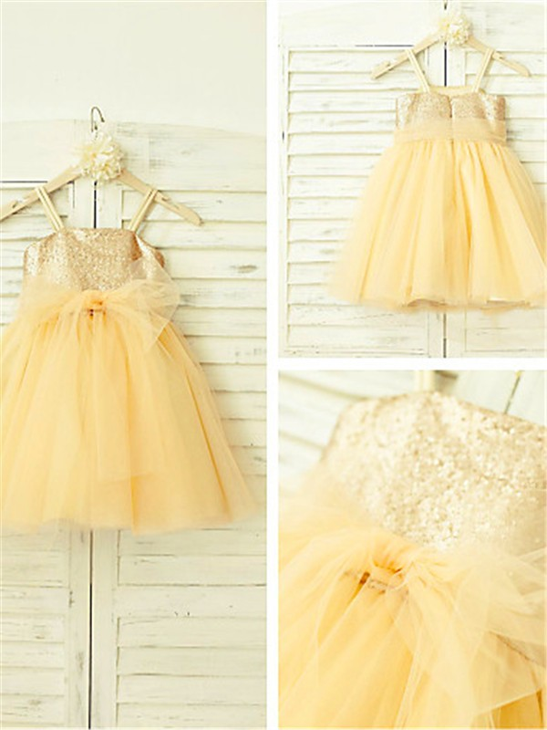 A-line/Princess Spaghetti Straps Sleeveless Sequin Tea-Length Tulle Little Girl Dresses