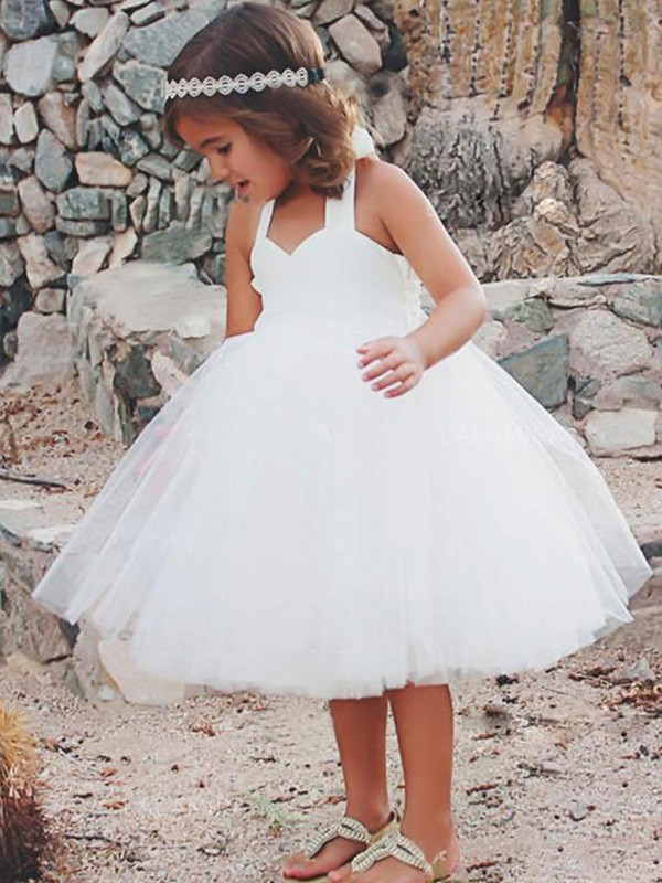 A-Line/Princess Halter Sleeveless Ruffles Tulle Tea-Length Flower Girl Dresses