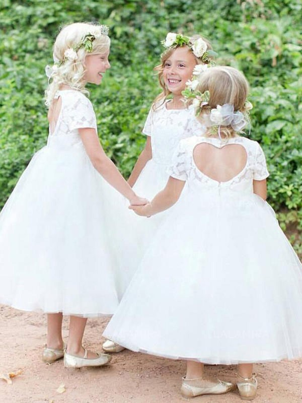 Ball Gown Scoop Short Sleeves Tea-Length Lace Tulle Flower Girl Dresses