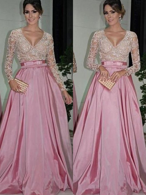 Floor-Length A-Line/Princess V-neck Long Sleeves Satin Dresses
