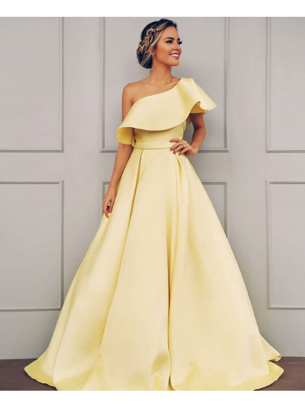 Floor-Length A-Line/Princess One-Shoulder Sleeveless Satin Dresses