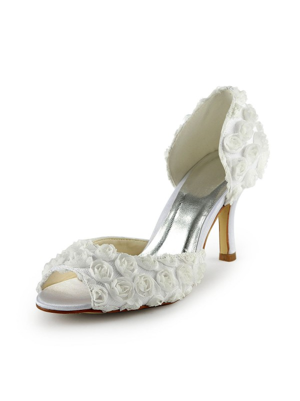 Women's Gorgeous Satin Stiletto Heel Peep Toe With Flowers Wedding Shoes