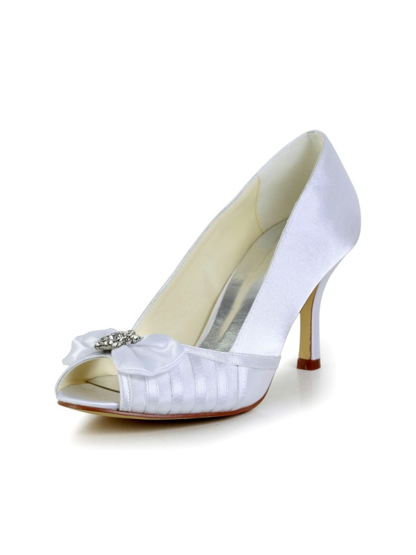 Women's Graceful Bowknot Stiletto Heel Satin Wedding Shoes