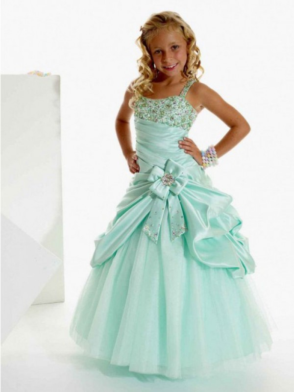 A-line/Princess Straps Sleeveless Beading Long Satin Flower Girl Dresses