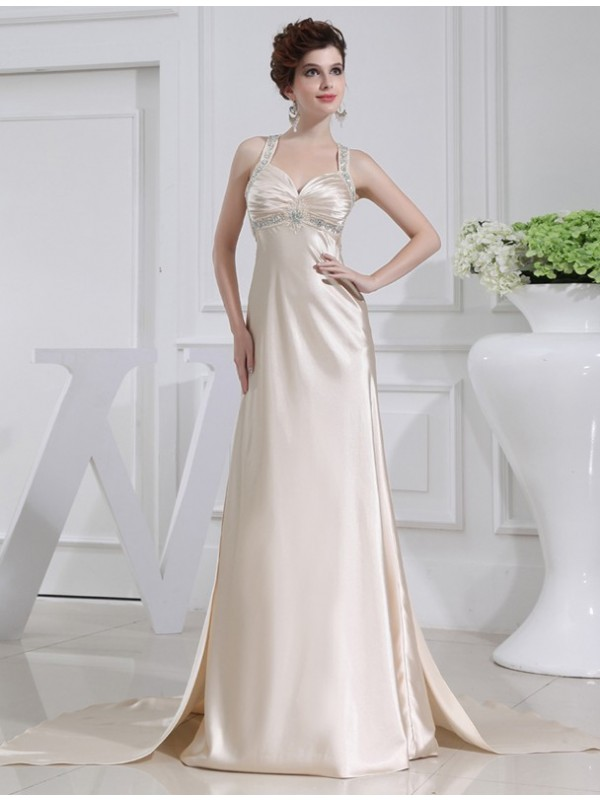 A-Line/Princess Beading Sleeveless Elastic Woven Satin Dresses
