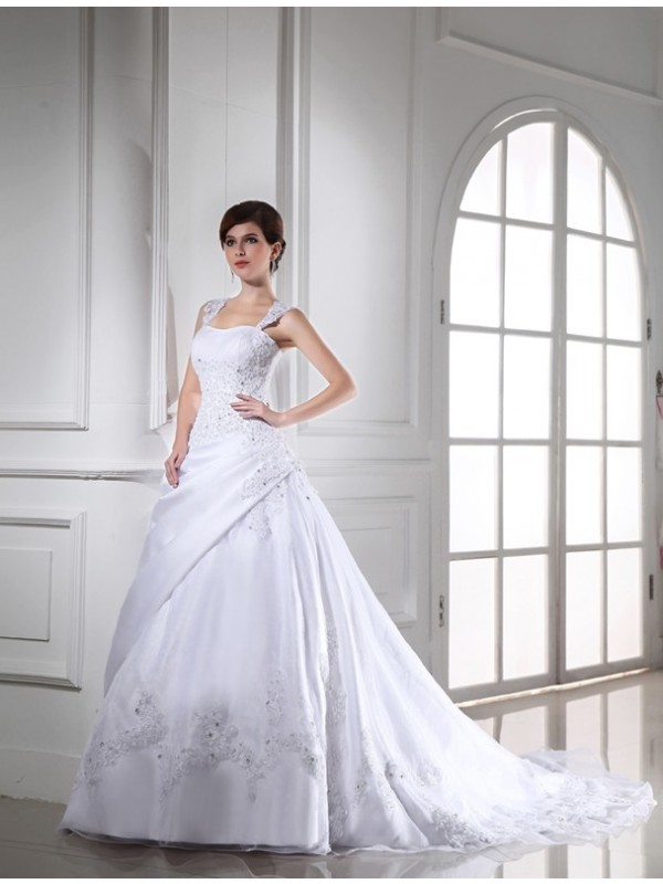 Ball Gown Beading Sleeveless Long Satin Organza Wedding Dresses