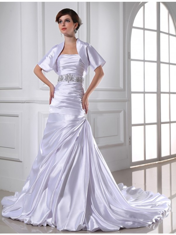 Trumpet/Mermaid Beading Strapless Sleeveless Applique Elastic Woven Satin Wedding Dresses