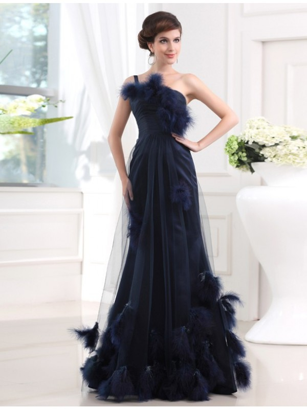 Trumpet/Mermaid One-shoulder Sleeveless Long Satin Tulle Feathers/Fur Dresses