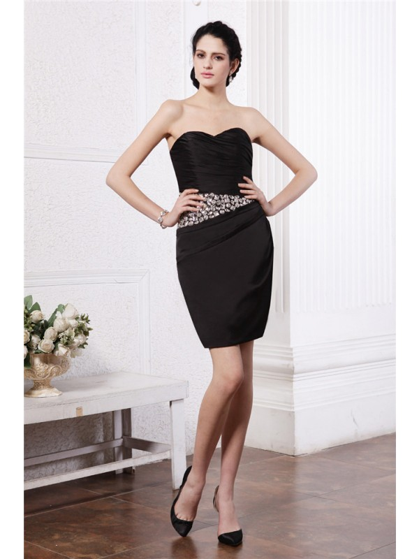 Sheath/Column Sweetheart Sleeveless Beading Pleats Short Chiffon Damask Cocktail Dresses