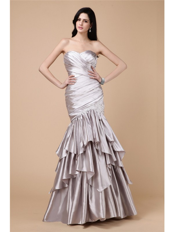 Trumpet/Mermaid Strapless Sleeveless Pleats Long Elastic Woven Satin Dresses