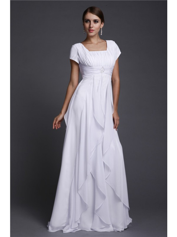 A-Line/Princess Square Neck Short Sleeves Ruffles Long Chiffon Dresses