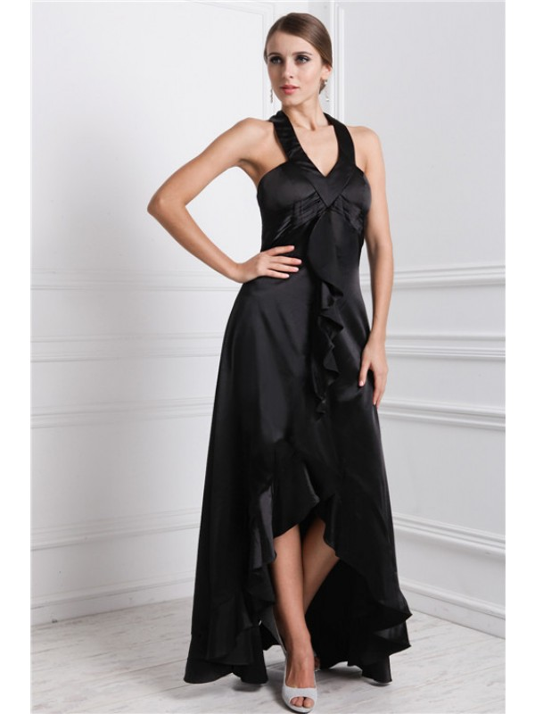 A-Line/Princess Bateau Ruffles Sleeveless High Low Silk like Satin Dresses