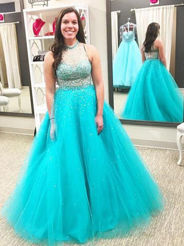 Ball Gown High Neck Sleeveless Beading Floor-Length Tulle Plus Size Dresses
