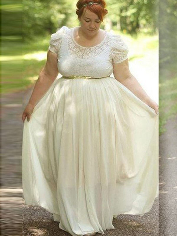 A-Line/Princess Scoop Short Sleeves Chiffon Lace Floor-Length Plus Size Dresses