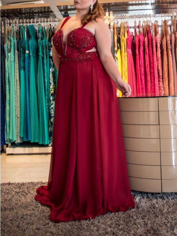 A-Line/Princess Straps Sleeveless Chiffon Beading Sweep/Brush Train Plus Size Dresses