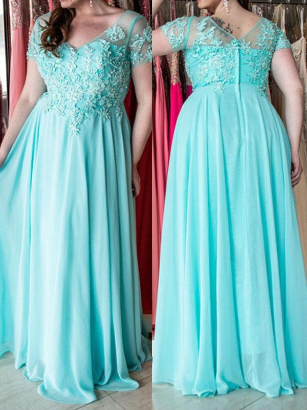 A-Line/Princess Sweetheart Chiffon Short Sleeves Applique Floor-Length Plus Size Dresses