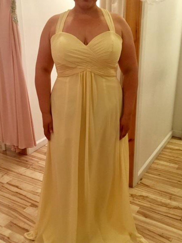 A-Line/Princess Halter Sleeveless Chiffon Ruched Floor-Length Plus Size Dresses