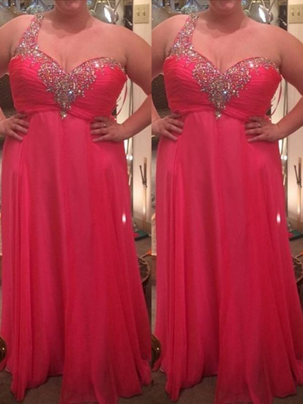A-Line/Princess One-Shoulder Sleeveless Chiffon Beading Floor-Length Plus Size Dresses