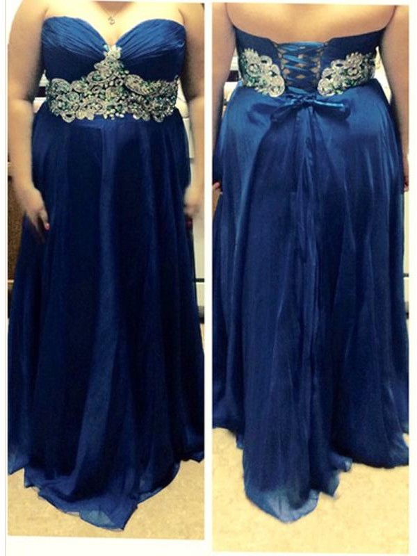 A-Line/Princess Sweetheart Chiffon Sleeveless Beading Floor-Length Plus Size Dresses