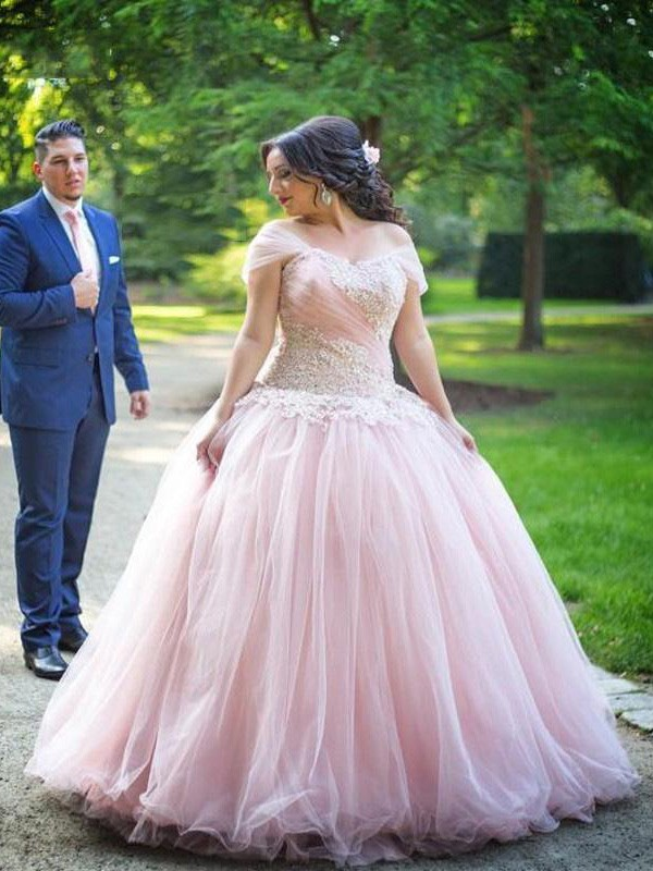 Ball Gown Off-the-Shoulder Sleeveless Floor-Length Tulle Applique Plus Size Dresses
