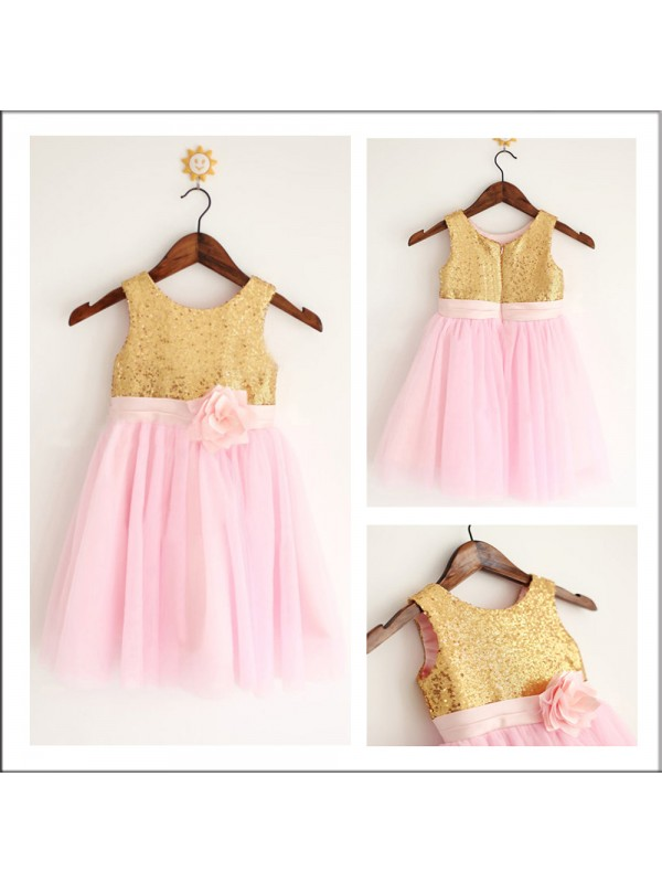 Tea-Length A-Line/Princess Scoop Sleeveless Sequin Tulle Flower Girl Dresses